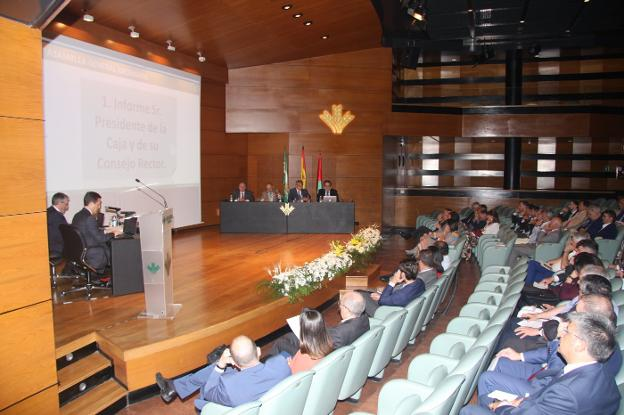 Momento de la Asamblea General de Caja Rural, ayer./IDEAL