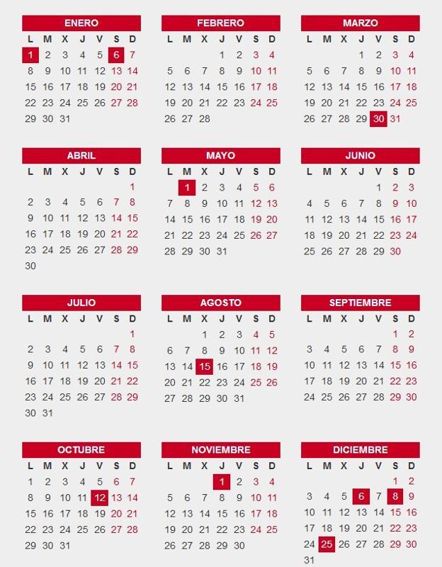 Calendario Laboral Espana 2019.El Calendario Laboral Definitivo De 2018 En Espana 10 Festivos