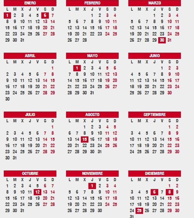 Calendario Completo.Fiestas De Ano Nuevo Y Reyes En Navidad Calendario Laboral