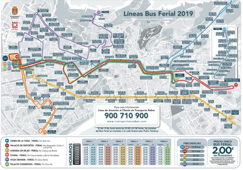 Mapa de líneas del Bus Ferial