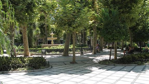 Paseos radiales, variada vegetación y la fuente de marmol de Plaza de la Trinidad./