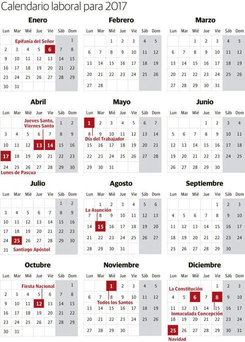 Calendario Laboral Espana.Calendario Laboral De Espana De 2017 Ideal